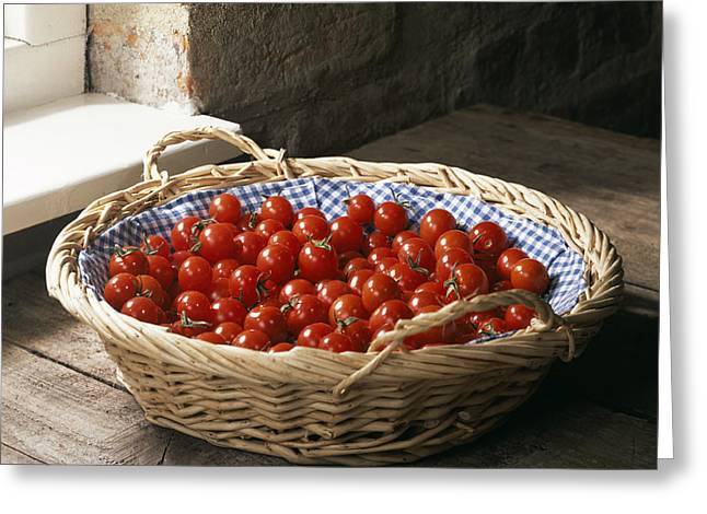 Many Greeting Cards - Organic Cherry Tomatoes Greeting Card by Sheila Terry