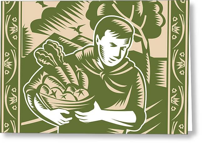 Organic Farmer With Basket Harvest Crops Retro Greeting Card by Aloysius Patrimonio