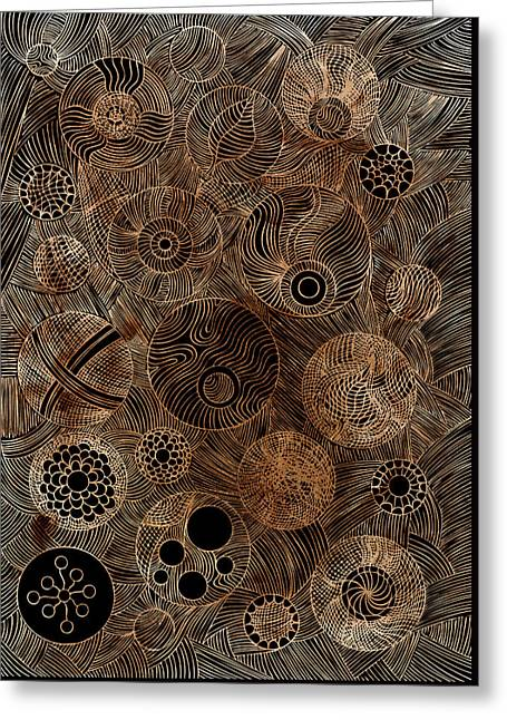 Woodcut Paintings Greeting Cards - Organic Forms Greeting Card by Frank Tschakert