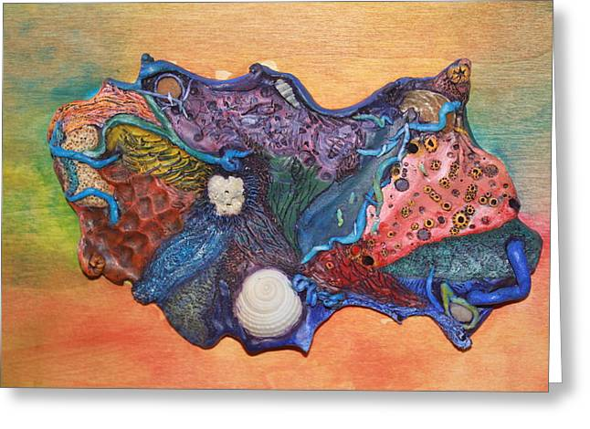 Acrylic Polymer Clay Greeting Cards - Organic Ocean Greeting Card by Megan Nelson