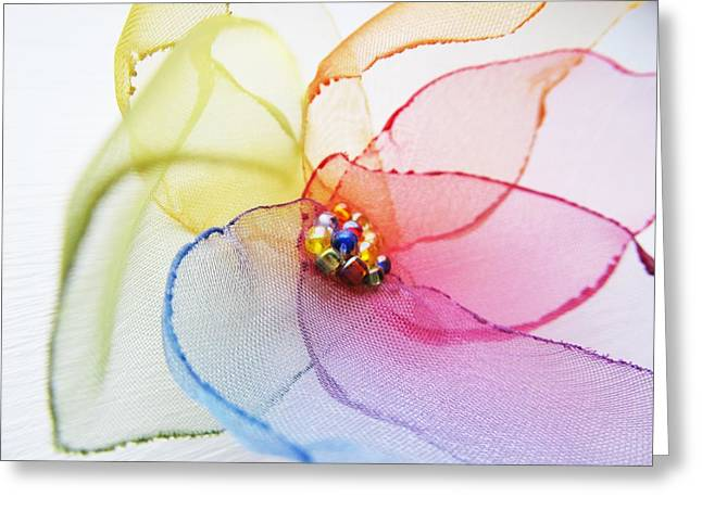 Textile Art Greeting Cards - Organza Flower Greeting Card by Marianna Mills