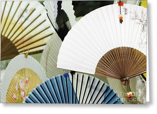 Multi Cultural Greeting Cards - Oriental Fans in a Paper Store Greeting Card by Jeremy Woodhouse