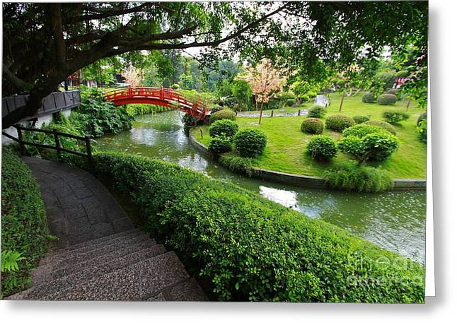 Garden Shen Greeting Cards - Oriental Garden  Greeting Card by Gary Bridger
