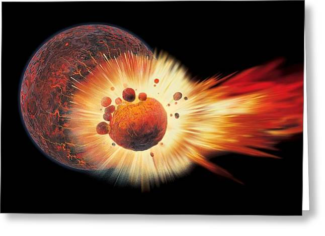 Ejected Greeting Cards - Origin Of The Moon, Artwork Greeting Card by Gary Hincks