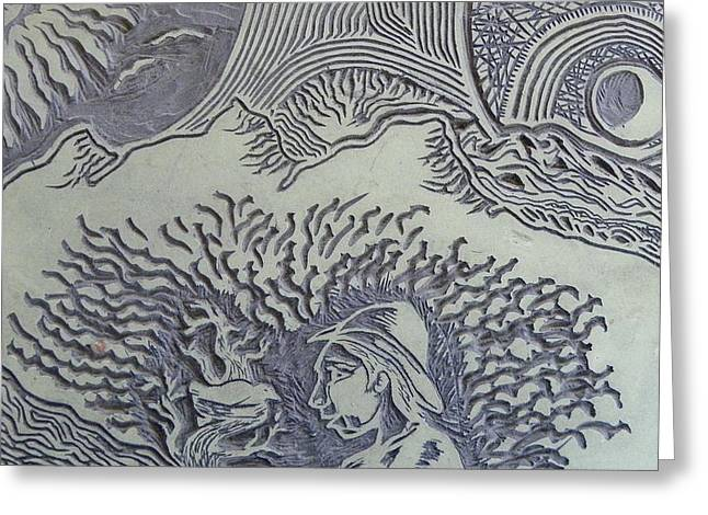 Linoleum Block Print Reliefs Greeting Cards - Original Linoleum Block Print Greeting Card by Thor Senior