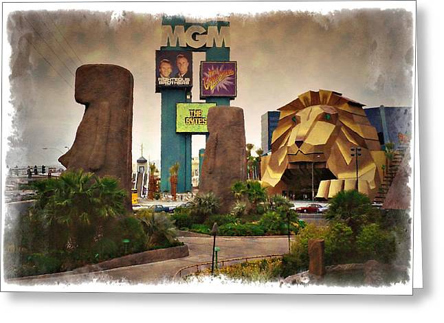 Tropicana Las Vegas Greeting Cards - Original MGM Grand Lion 1994 - IMPRESSIONS Greeting Card by Ricky Barnard
