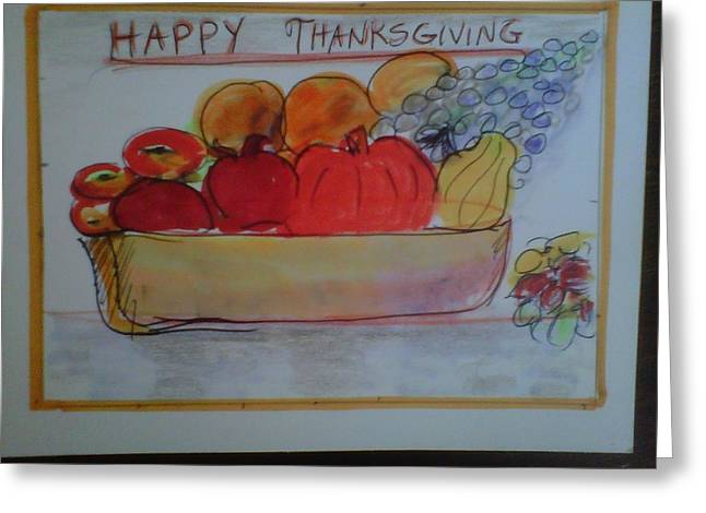 Organic Drawings Greeting Cards - Original Organic Thanksgiving Greeting Card by Betsy Mallegg