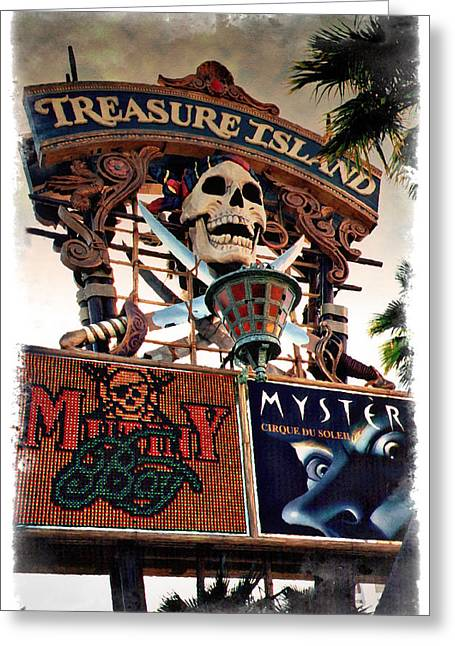 Las Vegas Art Greeting Cards - Original Treasure Island Marquee 1994 - IMPRESSIONS Greeting Card by Ricky Barnard
