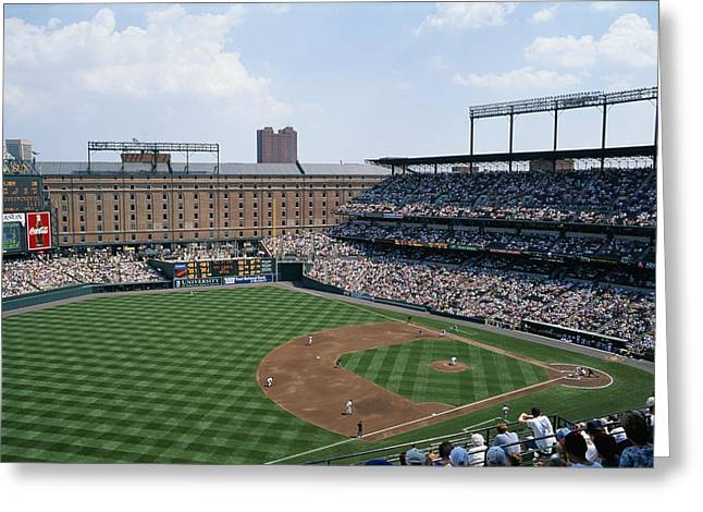Baltimore Oriole Greeting Cards - Orioles Park. Kansas City Royals Greeting Card by Brian Gordon Green