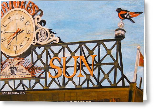 Baseball Stadiums Paintings Greeting Cards - Orioles Scoreboard at Sunset Greeting Card by John Schuller