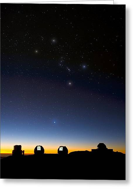 Sirius Greeting Cards - Orion And Observatories, Hawaii Greeting Card by David Nunuk