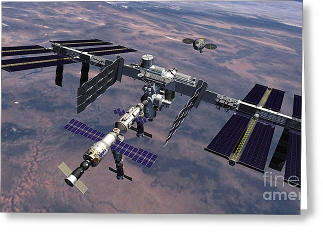 Iss Greeting Cards - Orion Approaching Iss Greeting Card by Nasa