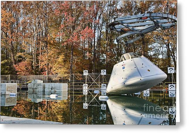 Nasa Space Program Greeting Cards - Orion Water Impact Test Greeting Card by NASA/Science Source