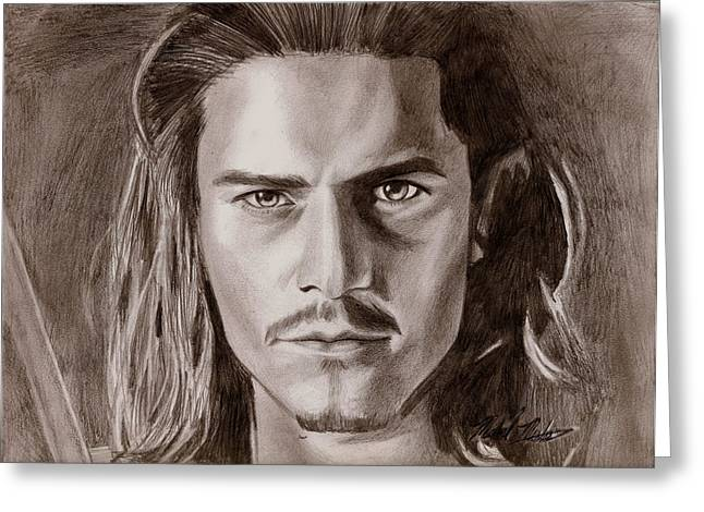 Orlando Bloom Greeting Card by Michael Mestas