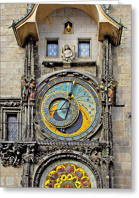 Skeleton Greeting Cards - ORLOJ - Prague Astronomical Clock Greeting Card by Christine Till