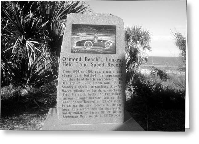 Land Speed Racing Greeting Cards - Ormand Beach Raceway Greeting Card by David Lee Thompson