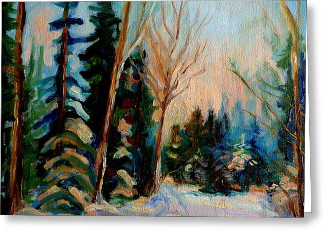 ORMSTOWN QUEBEC WINTER ROAD Greeting Card by CAROLE SPANDAU