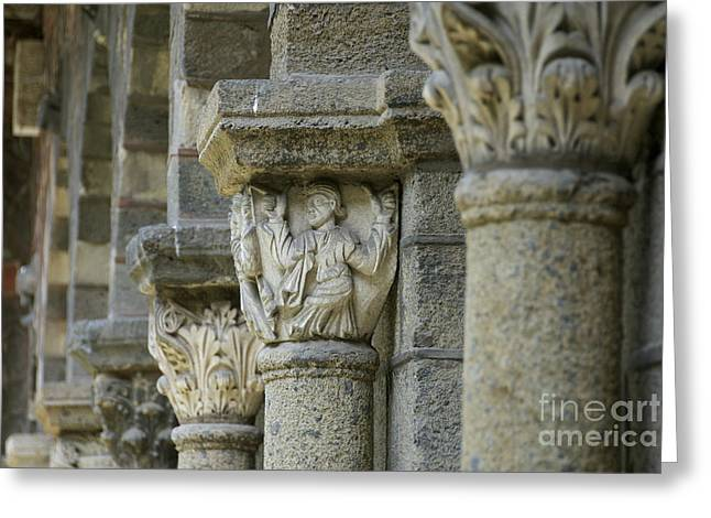 Catholic Art Greeting Cards - Ornament of cloister of Puy en Velay. Haute Loire. Auvergne Greeting Card by Bernard Jaubert