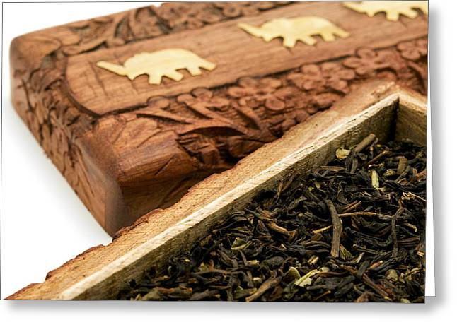 Cut-outs Greeting Cards - Ornate box with Darjeeling Tea Greeting Card by Fabrizio Troiani