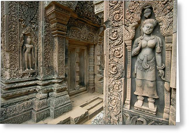 Indochinese Architecture And Art Greeting Cards - Ornate Carvings And Sculptures Greeting Card by Paul Chesley