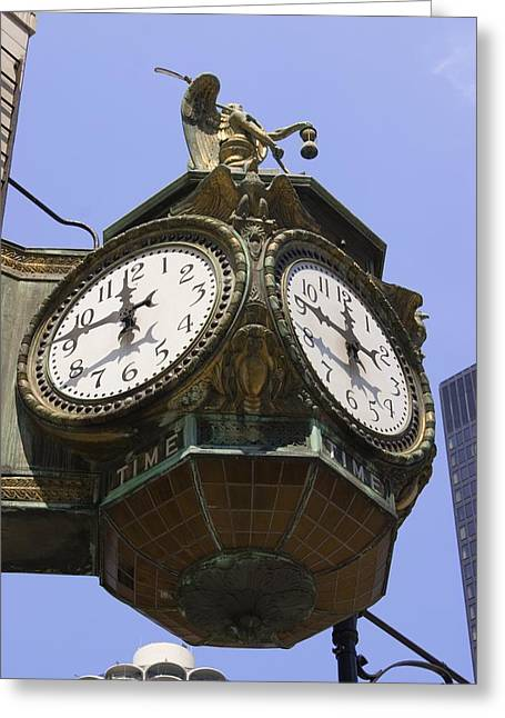 Lunch Time Greeting Cards - Ornate Clock In Chicago Greeting Card by Mark Williamson
