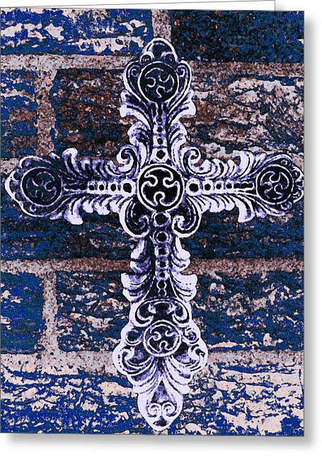 Iron Greeting Cards - Ornate Cross 2 Greeting Card by Angelina Vick