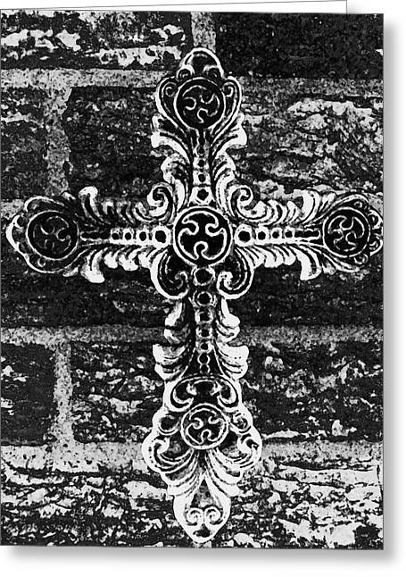 Jesus Mixed Media Greeting Cards - Ornate Cross 3 BW Greeting Card by Angelina Vick