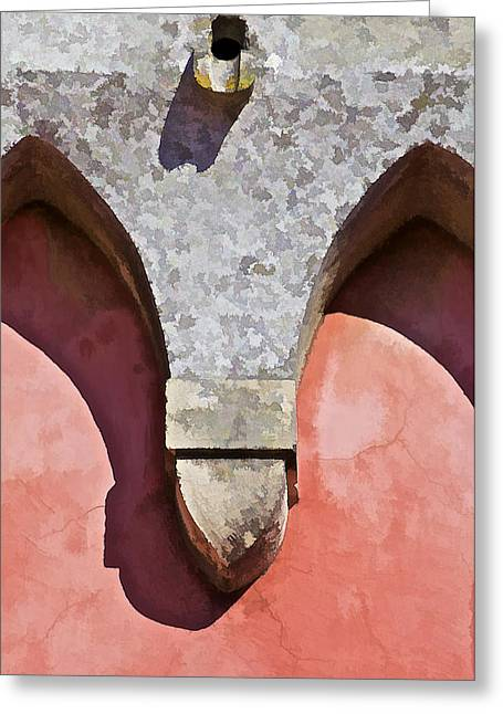 Drain Greeting Cards - Ornate Design of Carved Stone Arch Against a Red Faded Plaster Wall Greeting Card by David Letts