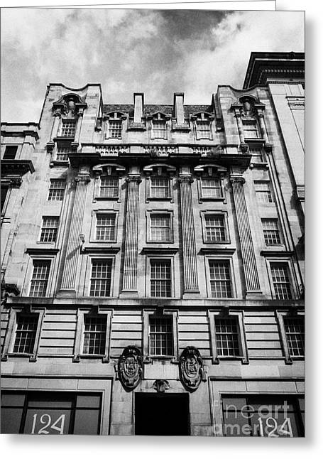 Office Space Photographs Greeting Cards - Ornate Facade Of 124 St Vincent Street Refurbished Into Modern Office Space Glasgow Scotland Uk Greeting Card by Joe Fox