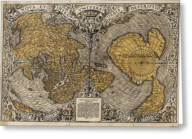 Northern Africa Greeting Cards - Oronce Fines World Map, 1531 Greeting Card by Library Of Congress, Geography And Map Division