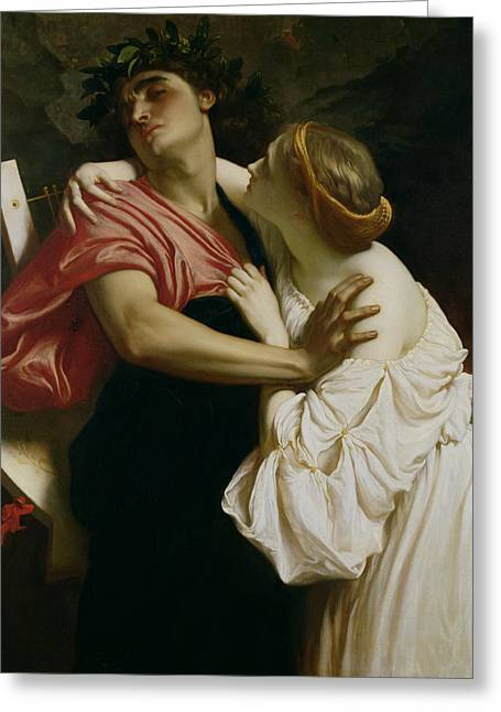 Lyre Paintings Greeting Cards - Orpheus and Euridyce Greeting Card by Frederic Leighton
