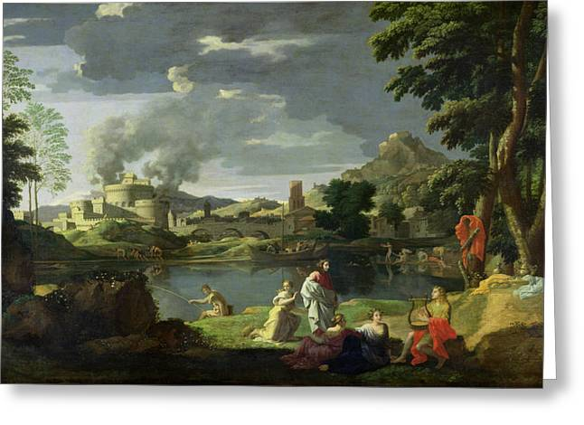 Lyre Paintings Greeting Cards - Orpheus and Eurydice Greeting Card by Nicolas Poussin