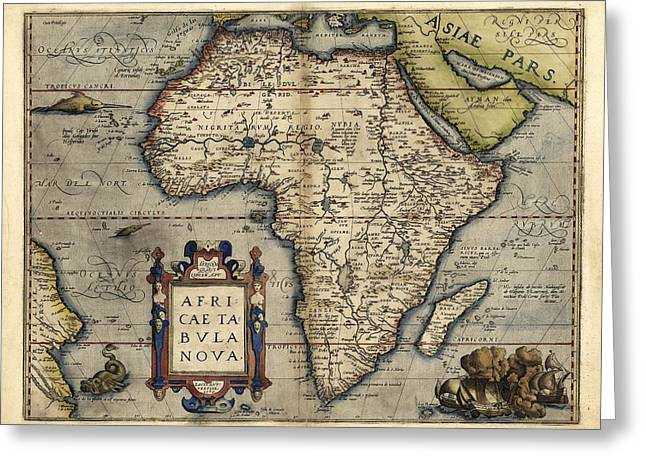 First Edition Greeting Cards - Orteliuss Map Of Africa, 1570 Greeting Card by Library Of Congress, Geography And Map Division