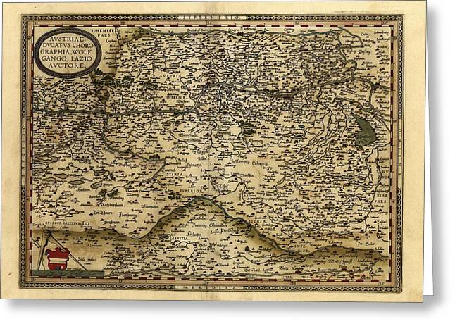 First Edition Greeting Cards - Orteliuss Map Of Austria, 1570 Greeting Card by Library Of Congress, Geography And Map Division