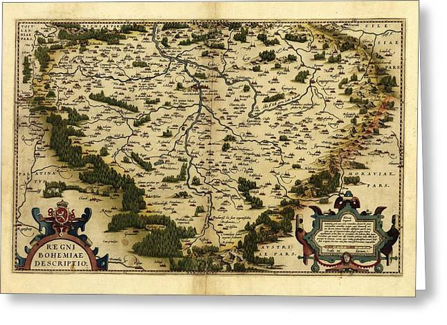 First Edition Greeting Cards - Orteliuss Map Of Bohemia, 1570 Greeting Card by Library Of Congress, Geography And Map Division