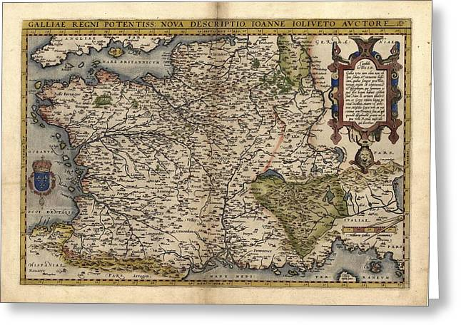 First Edition Greeting Cards - Orteliuss Map Of France, 1570 Greeting Card by Library Of Congress, Geography And Map Division