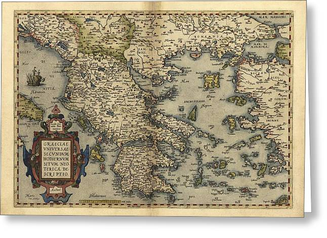 First Edition Greeting Cards - Orteliuss Map Of Greece, 1570 Greeting Card by Library Of Congress, Geography And Map Division
