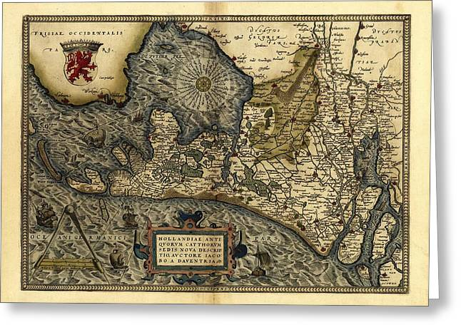 First Edition Greeting Cards - Orteliuss Map Of Holland, 1570 Greeting Card by Library Of Congress, Geography And Map Division
