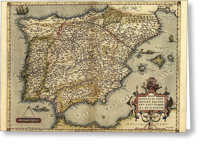 First Edition Greeting Cards - Orteliuss Map Of Iberian Peninsula, 1570 Greeting Card by Library Of Congress, Geography And Map Division