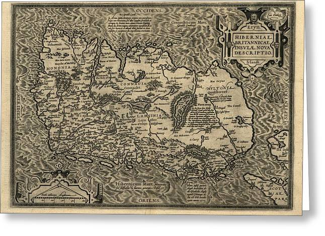 Ortelius's Map Of Ireland, 1598 Greeting Card by Library Of Congress, Geography And Map Division