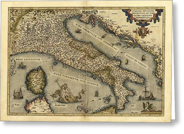 First Edition Greeting Cards - Orteliuss Map Of Italy, 1570 Greeting Card by Library Of Congress, Geography And Map Division