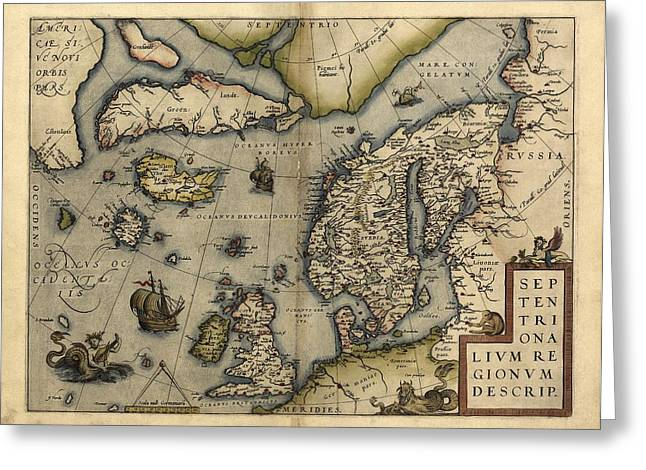 First Edition Greeting Cards - Orteliuss Map Of Northern Europe, 1570 Greeting Card by Library Of Congress, Geography And Map Division