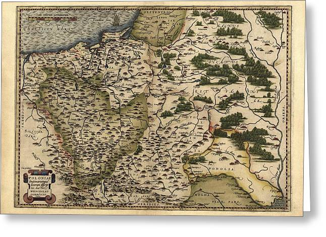 First Edition Greeting Cards - Orteliuss Map Of Poland, 1570 Greeting Card by Library Of Congress, Geography And Map Division