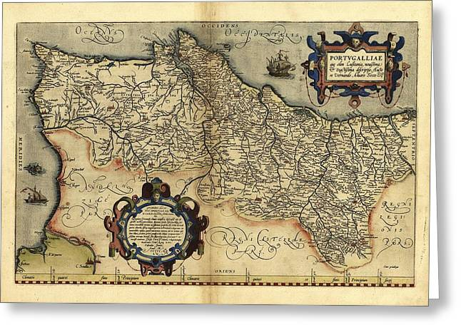 First Edition Greeting Cards - Orteliuss Map Of Portugal, 1570 Greeting Card by Library Of Congress, Geography And Map Division