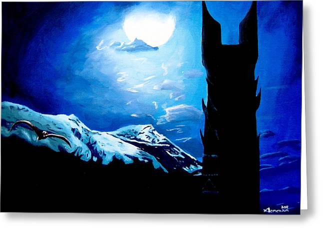 Lord Paintings Greeting Cards - Orthanc Rescue Greeting Card by Kayleigh Semeniuk