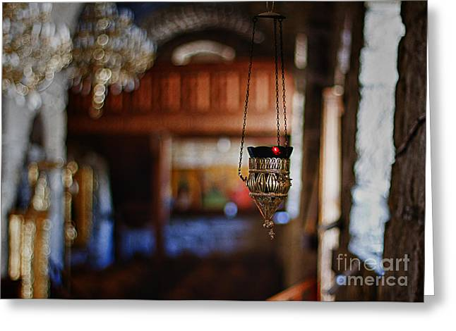 Hope Crosses Greeting Cards - Orthodox Church Oil Candle Greeting Card by Stylianos Kleanthous