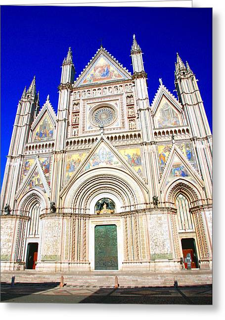 Entrance Door Greeting Cards - Orvieto Cathedral Greeting Card by Valentino Visentini