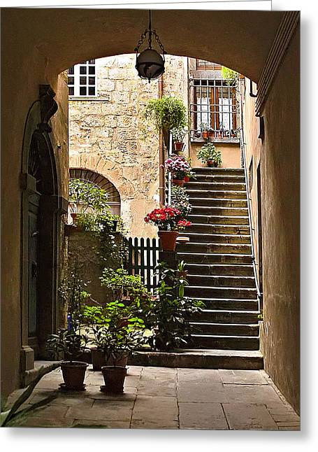 Orvieto Greeting Cards - Orvieto Walkway Italy Greeting Card by Forest Alan Lee