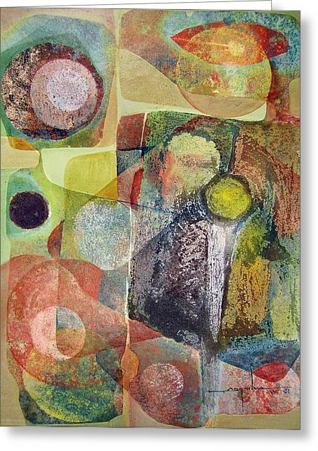 Bolivian Greeting Cards - OS1961DC002BO Abstract Landscape Potosi 17x22.25 Greeting Card by Alfredo Da Silva
