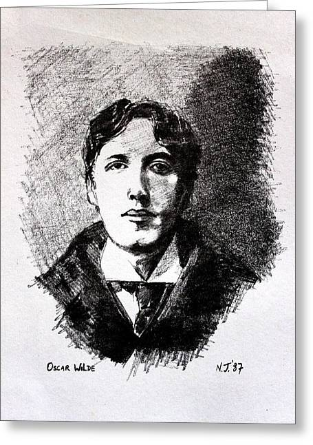Frame Drawings Greeting Cards - Oscar Wilde Greeting Card by John  Nolan